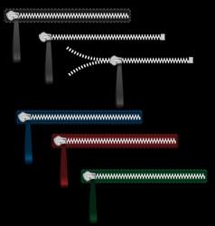 Six metal zippers on black vector image
