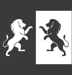 Two heraldic lions rampant vector