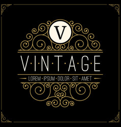 Vintage luxury logo line art retro logotype vector