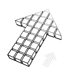 Arrow icon made of drawing cubes vector image vector image