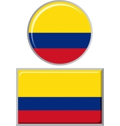 Colombian round and square icon flag vector image vector image