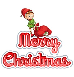 Merry Christmas with elf vector image vector image