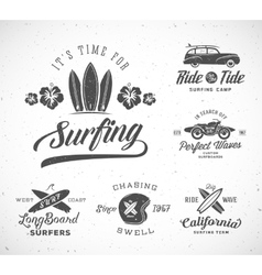 Retro Style Surfing Labels Logo Templates vector image