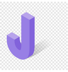 j letter in isometric 3d style with shadow vector image