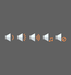 music player volume icon set audio listening app vector image