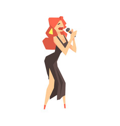 pop art young woman singer character singing with vector image vector image