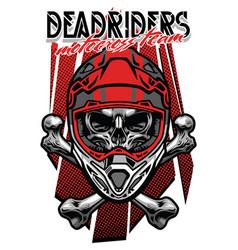 skull morocross rider with crossed bones vector image