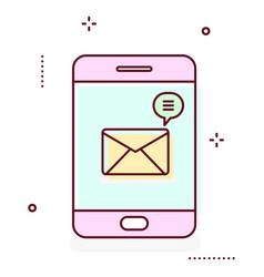 smartphone line icon with message notification vector image vector image