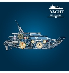 Yacht mechanics icon of motor boat from parts vector image vector image