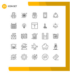25 universal line signs symbols daily android vector