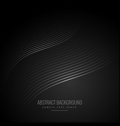 Abstract black background with wave lines vector