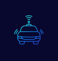 Autonomous car line thin icon vector