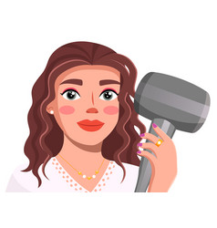 avatar young brunette holding hair dryer in vector image