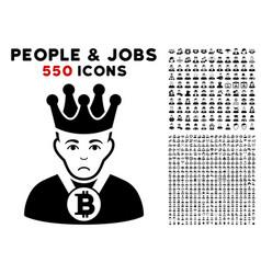 Bitcoin king icon with bonus vector