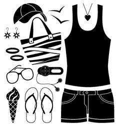 Black fashion set vector image