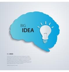 Blue brain with bulb idea concept vector image