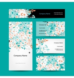 Business cards design floral style vector