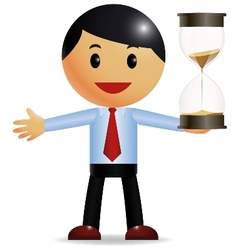 Businessman holding hourglass vector image