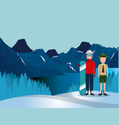 Canadian landscape with snowboard athlete and vector