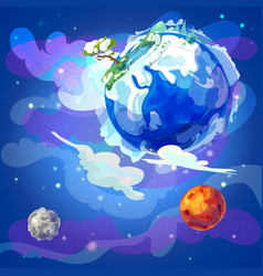 cartoon natural earth planet concept vector image