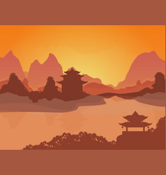 Cartoon oriental chinese card poster vector