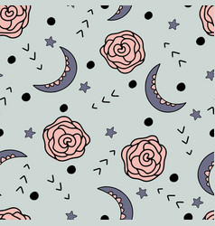 Celestial and flower elements pattern design vector