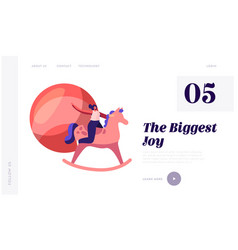 children toys website landing page woman riding vector image