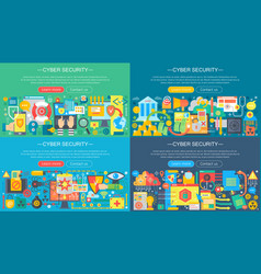 collection flat cyber security design vector image