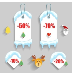 Colorful winter Christmas sale stickers and tags vector image vector image