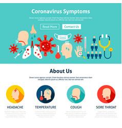 Coronavirus symptoms website design vector