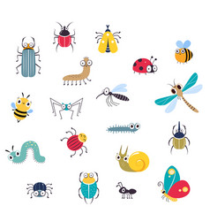 cute funny insects set beetle mosquito vector image