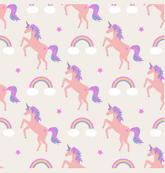 cute seamless pattern with unicorns rainbows and vector image