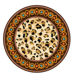 decorative plate with round ornament in ethnic vector image