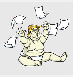 donald trump big bawith messy papers vector image