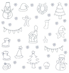 Doodle of christmas set with hand draw vector image