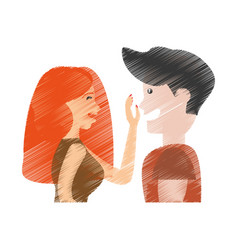 Drawing couple caressing romantic vector