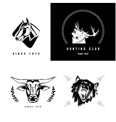 emblem sign symbol of animals heads heads vector image