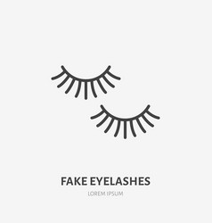 Fake eyelashes flat line icon beauty care sign vector