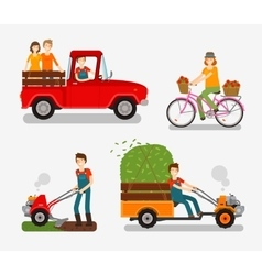 Farm icons set Cartoon characters such as farmer vector image