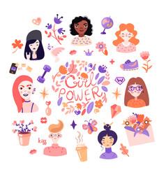Feminist and cute girl power set vector