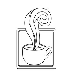 Figure squard symbol of coffee cup vector