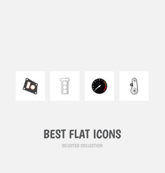 Flat icon component set of cambelt packing vector