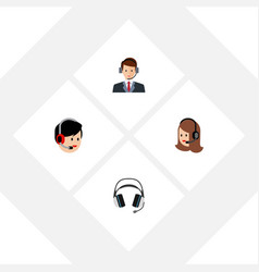 Flat telemarketing set of earphone service vector