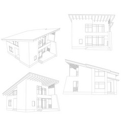 frame house four angle vector image