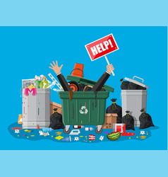 Garbage bin full trash overflowing container vector