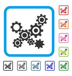 Gears mechanism framed icon vector
