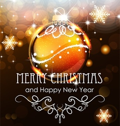 Gold Christmas ball on a holiday background vector image