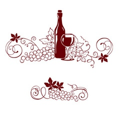 Grape and a wine bottle vector