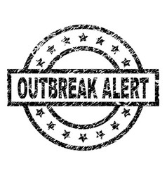 Grunge textured outbreak alert stamp seal vector