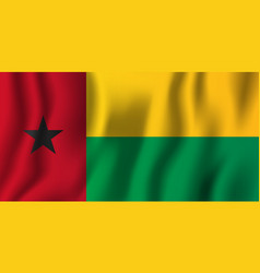 guinea-bissau realistic waving flag national vector image